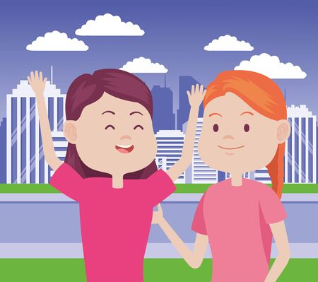 young women characters in the city vector illustration design Standard-Bild - 134489170