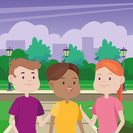young people characters in the park vector illustration design Standard-Bild - 134489193