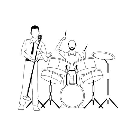 singer and musician playing drums set over white background, flat design. vector illustration
