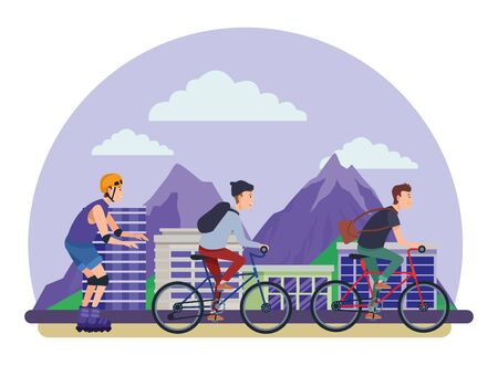 Young people riding with bikes and skates wearing accesories in the city urban buildings scenery in the city urban scenery background ,vector illustration graphic design.