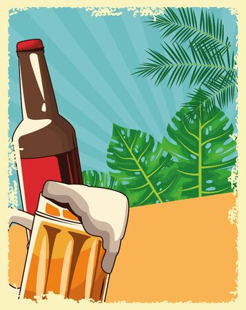 beer bottle and mug over tropical leaves and retro style background, colorful design , vector illustration
