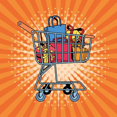 shopping bags pop art style vector illustration design
