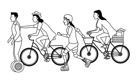 Young people riding on bikes, electric scooter and skates with accesories ,vector illustration graphic design.