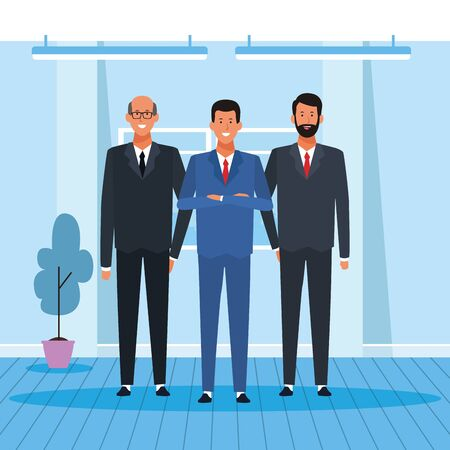 cartoon happy businessmen partners standing in the office, colorful design. vector illustration