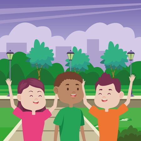 young people characters in the park vector illustration design Standard-Bild - 134489290