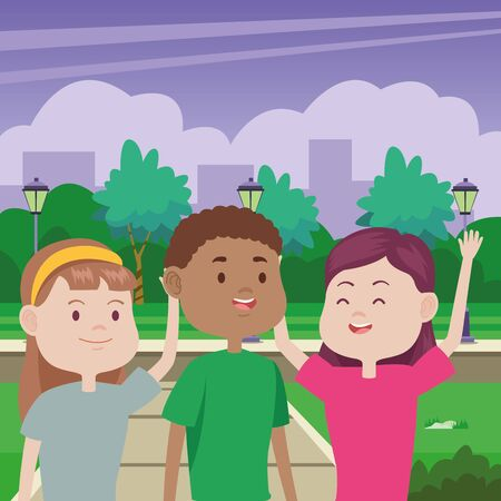 young people characters in the park vector illustration design Standard-Bild - 134489300