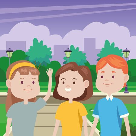 young people characters in the park vector illustration design Standard-Bild - 134489303