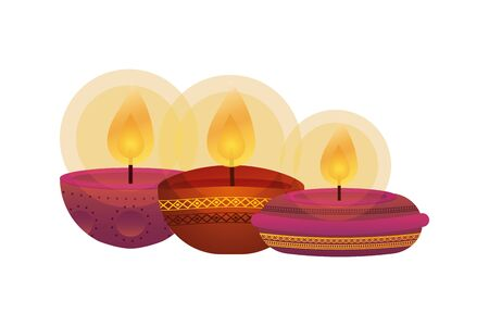 happy diwali three candles traditional icons vector illustration design Illustration