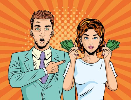 business couple with bills dollars pop art style characters vector illustration design