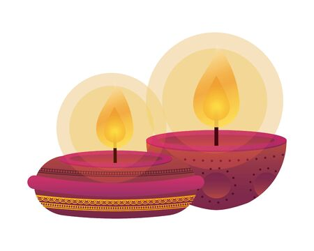 happy diwali pair candles traditional icons vector illustration design Vectores