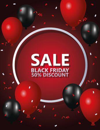 black friday sale poster with balloons helium vector illustration design Vector Illustratie