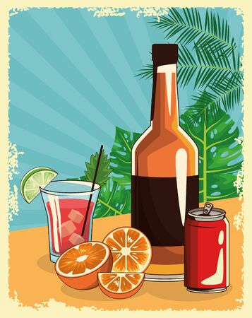 whisky bottle with cocktail and soda can overtropical leaves and retro style background, colorful design , vector illustration