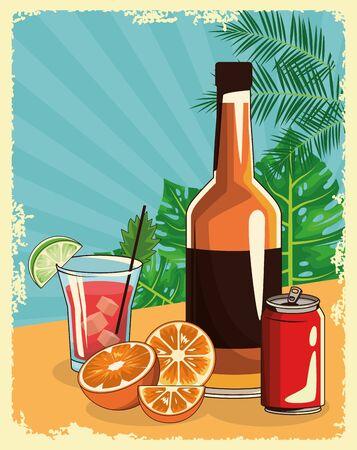 Whisky-Flasche mit Cocktail- und Limonade kann übertropische Blätter und Retro-Stil-Hintergrund, farbenfrohes Design, Vektorillustration