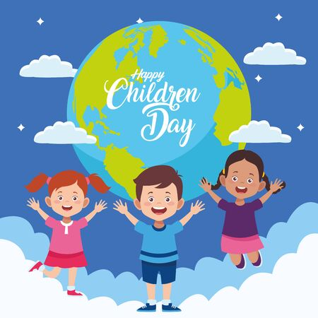 happy children day with kids in the world planet vector illustration design