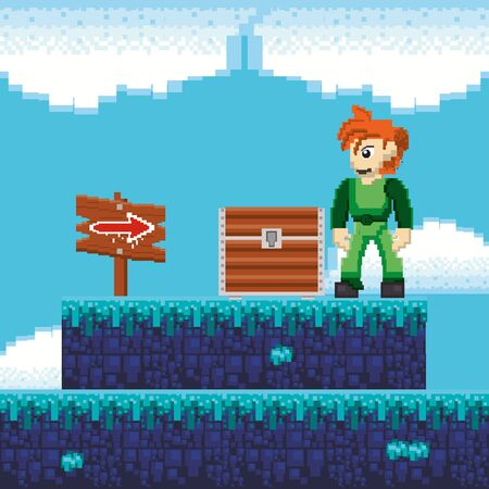 video game warrior with treasure chest in pixelated scene vector illustration design Illusztráció