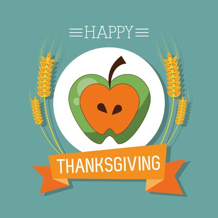 happy thanksgiving day card with apple fruit vector illustration design