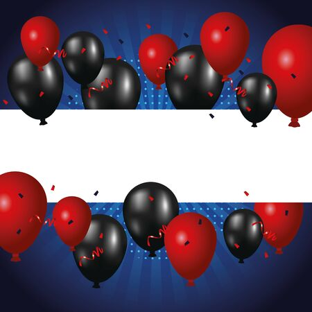 balloons helium floating colors red and black vector illustration design