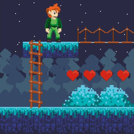 video game warrior with hearts in pixelated scene vector illustration design