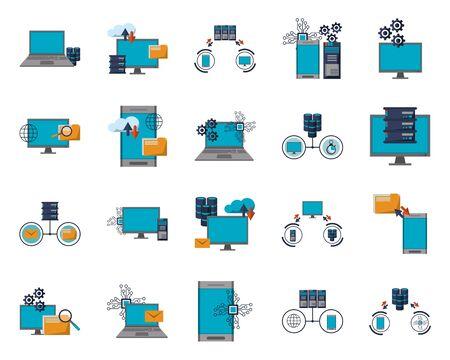 pacchetto di informazioni di trasferimento del centro dati icone illustrazione vettoriale design