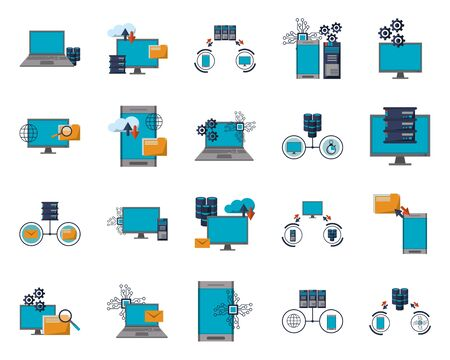 pakiet ikon informacji o transferze centrum danych wektor ilustracja projektu