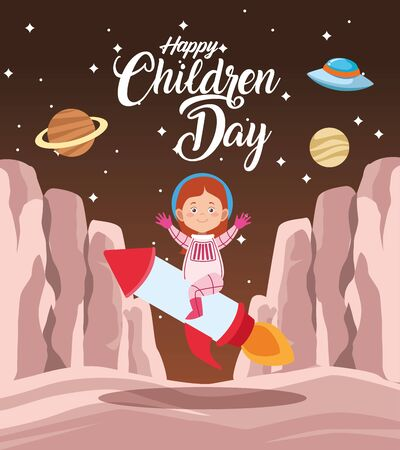 happy children day celebration with girl in the space vector illustration design