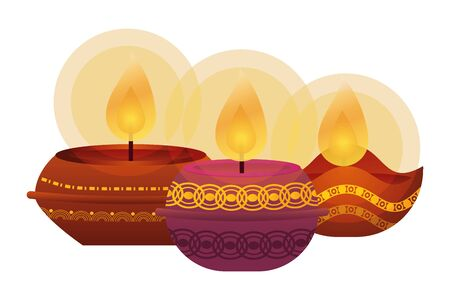 happy diwali three candles traditional icons vector illustration design Vectores