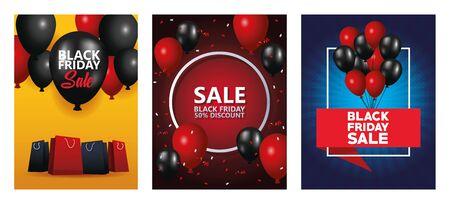 black friday sale bundle of cards vector illustration design Vektorové ilustrace