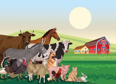group of animals farm in the landscape scene vector illustration design