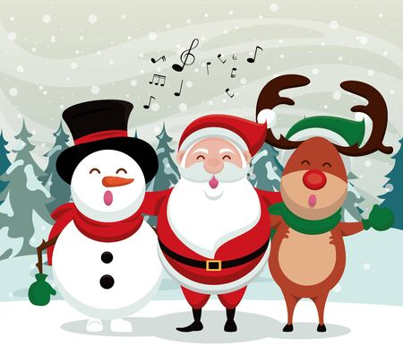 happy merry christmas card with cute characters vector illustration design