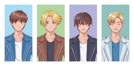 bundle of young boys hentai style characters vector illustration design