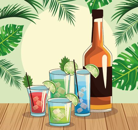 whisky bottle and tropical cocktails over tropical leaves and retro style background, colorful design , vector illustration Imagens - 134267649