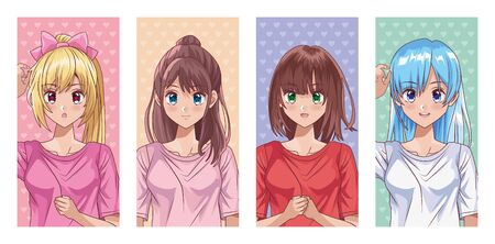 bundle of young girls hentai style characters vector illustration design