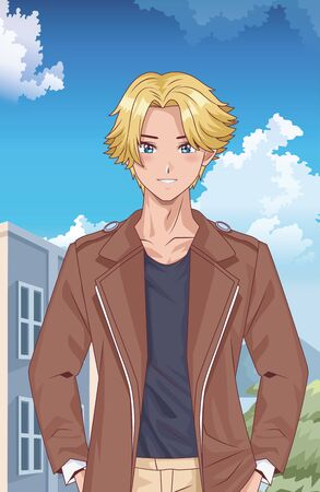 young blond boy hentai style character outdoor scene vector illustration design  イラスト・ベクター素材