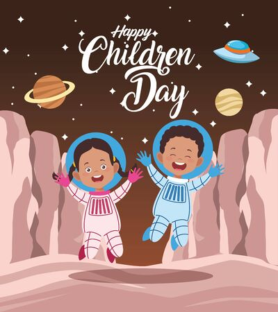 happy children day celebration with kids couple in the space vector illustration design
