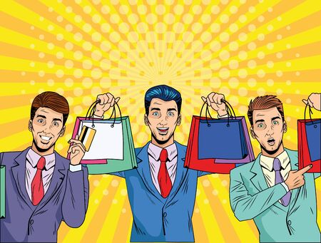 Men with shopping bag design, Commerce market store retail paying and buying theme Vector illustration