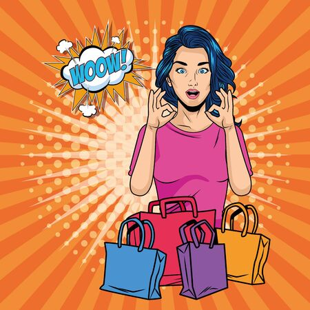 Woman with shopping bag design, Commerce market store retail paying and buying theme Vector illustration Illustration
