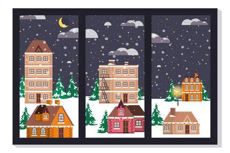 bundle of christmas winter street scene vector illustration design