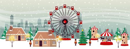 christmas winter street scene with panoramic wheel vector illustration design Иллюстрация