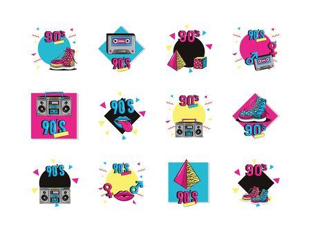 Paquete de noventa establecer iconos diseño ilustración vectorial