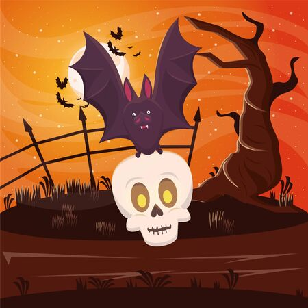 halloween dark scene with bat flying lifting skull vector illustration design