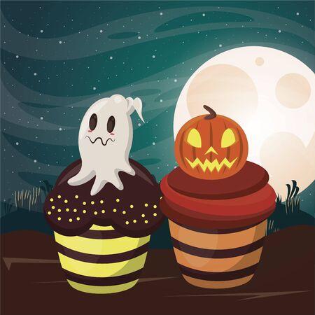 halloween dark scene with sweet cupcakes vector illustration design Imagens - 134492145