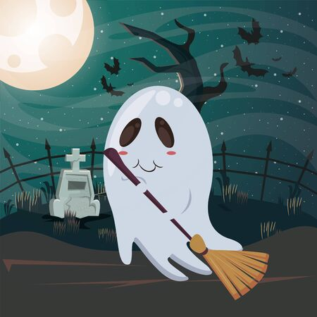 halloween dark scene with ghost vector illustration design Imagens - 134492201