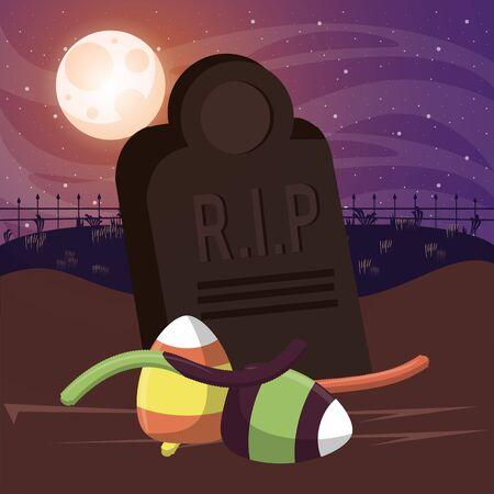 halloween dark scene with sweet candies in cemetery vector illustration design