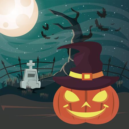 halloween dark scene with pumpkin vector illustration design Imagens - 134492208