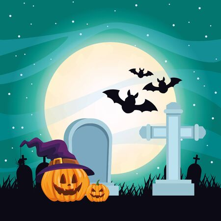 halloween dark scene with pumpkins in cemetery vector illustration design