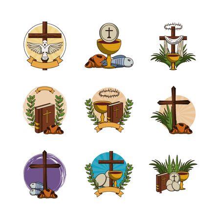 bundel van eerste communie set iconen vector illustratie ontwerp