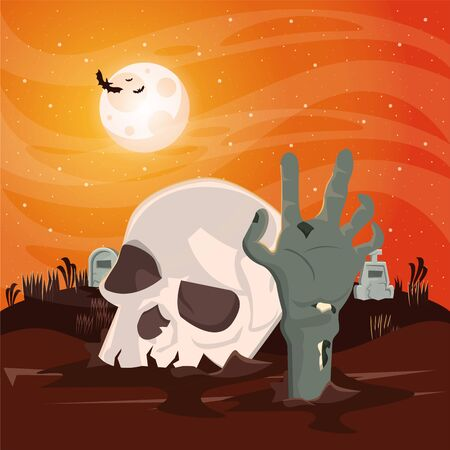 halloween dark scene with skull head vector illustration design Imagens - 134492217