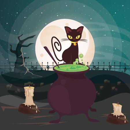 halloween dark scene with black cat and cauldron vector illustration design Ilustração
