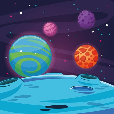 Milkyway space with planets and stars scenery cartoon vector illustration graphic design