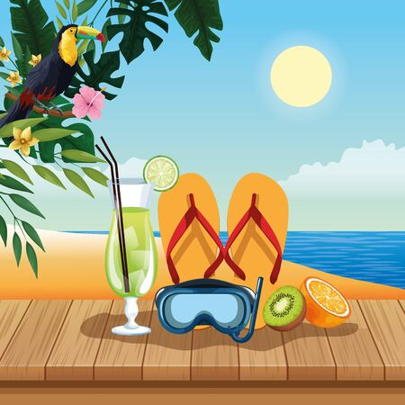 Summer cocktail diving mask flip flops and kiwi on wooden floor, beach scenery. vector illustration graphic design Illustration